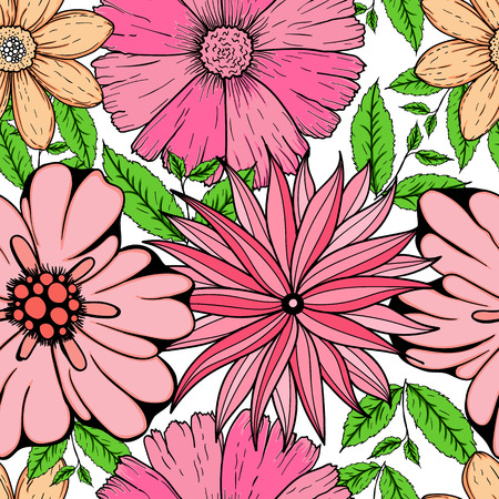 Vector seamless pattern of hand drawn colorful flowers and leaf branch. illustration isolated on grey. Magic beautiful camomiles. Hand sketched doodle for coloring books, your design, web, package Illustration
