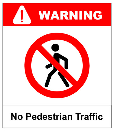 Vector Prohibition No Pedestrain Sign. Warning road traffic forbidden icon for walking people isolated on white in a red circle. Man symbol