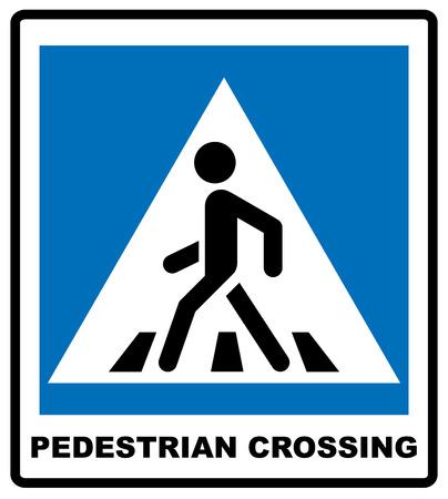 Peatones Ilustración símbolo del vector aislado en el fondo blanco. Bandera azul de carreteras y lugares públicos, signo del paso de peatones