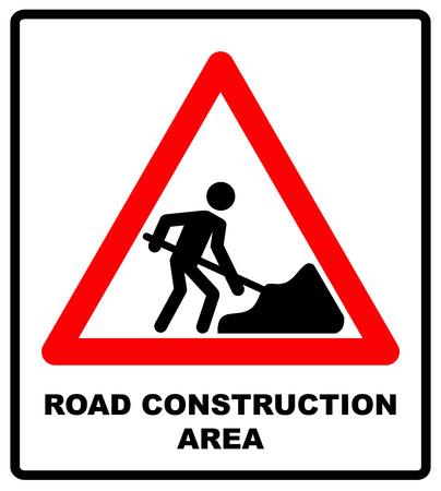 road work: Vector illustration of road construction area sign in red triangle isolated on white. Warning sticker for public places and road. work in progress banner. Illustration