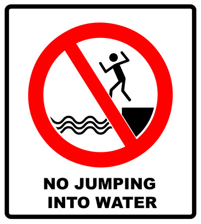 No jumping into water sign, Vector warning banner with symbol in red for bidden circle for public places, Vector illustration