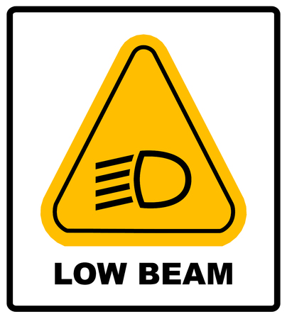 vector isolated dashboard sign with description. low beam symbol in yellow triangle isolated on white for road