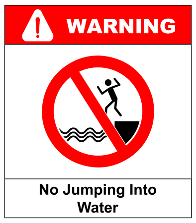 alerting: No jumping into water sign, Vector warning banner with symbol in red for bidden circle for public places, Vector illustration