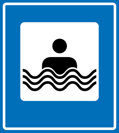 floatation: Swim Icon Vector. Flat simple pictogram for road. Vector traffic banner. Man in water, place for swimming, bathing, beach line