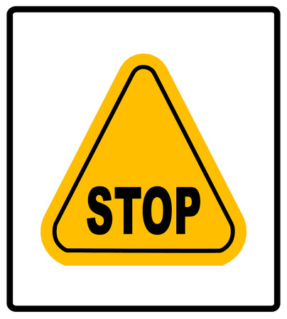 Danger warning sign. STOP in yellow triangle. Vector Illustration on white background for design, public places, roads