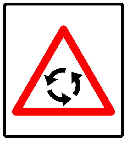 roundabout: Vector illustration of triangle traffic sign for roundabout. Vector road symbol in red triangle isolated on white.