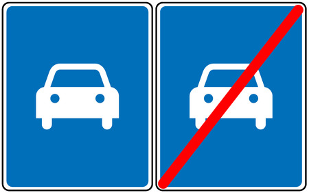 traffic pole: Road for car sign, vector blue symbol. Only car allowed road sign or not allowed. Vector symbols for traffic Illustration