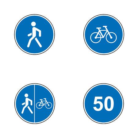 도로 표지판의 집합입니다. 간판. 필수 교통 표지의 컬렉션입니다. 벡터 일러스트 레이 션. 필수 속도, 자전거, 보행자 경로 일러스트