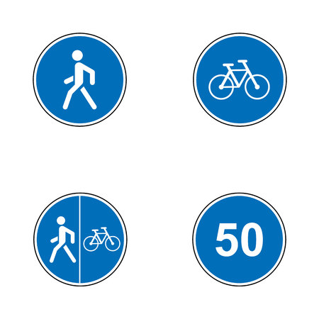 Set of road signs. Signboards. Collection of mandatory traffic signs. Vector illustration. Mandatory speed, bikes, pedestrian route Ilustração