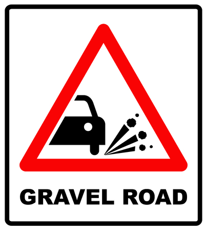 gravel: Gravel road symbol. Blowout of gravel - road sign in red triangle isolated on white background. Vector illustration.