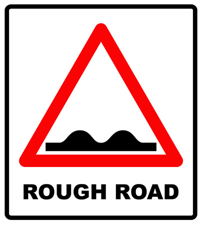 Road, sign, rough icon vector image. Can also be used for traffic signs. Vector illustration in red triangle isolated on white. Suitable for web apps, mobile apps and print media. Ilustração