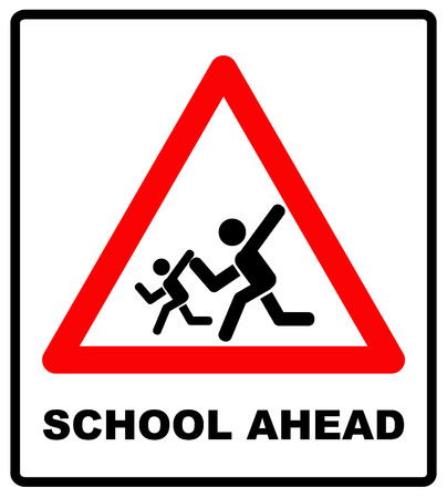 slow motion: Warning school sign. Vector traffic symbol in red triangle isolated white, School crossing ahead. Slow motion, children Illustration