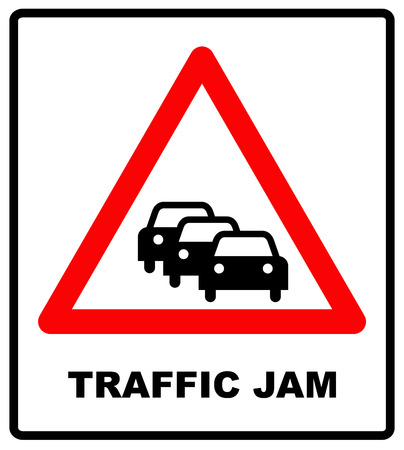 congestion: Road Sign Warning Traffic Congestion on White Background. Traffic Jam symbol for road in red triangle isolated on white