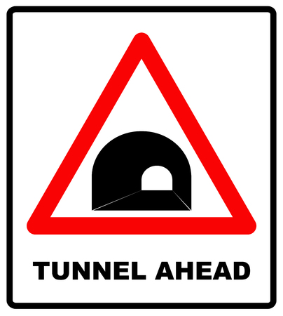 Russia Tunnel Ahead Sign.Vector traffic symbol for road in red triangle isolated on white. Vector illustration