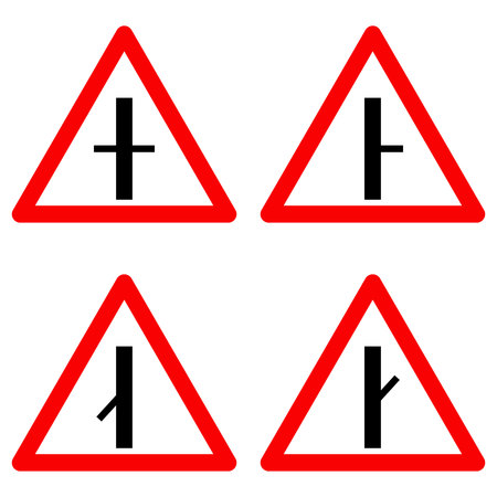 crossroad: Traffic signs vector set on white background. Set of crossroad ahead, intersection symbols for road in red triangle. Vector illustration Illustration