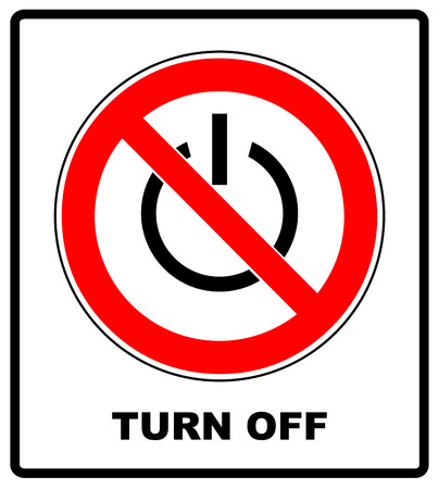 Power symbol and prohibition sign. Black out, no electricity, turn off your devices concept. Vector illustration, symbol in red forbidden circle isolated on white
