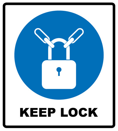locked in: Keep locked sign. Information mandatory symbol in blue circle isolated on white. Vector illustration, white silhouette of lock Illustration