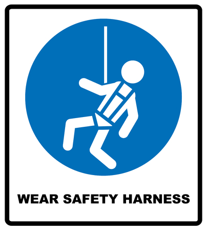 Wear safety harness sign. Information mandatory symbol in blue circle isolated on white. Vector illustration Illustration