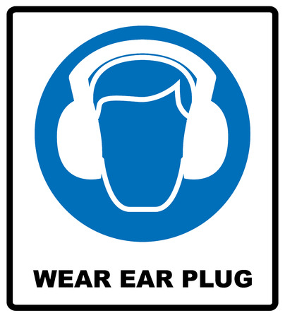 ear muffs: wear earmuffs or ear plugs sign. Information mandatory symbol in blue circle isolated on white. Vector illustration