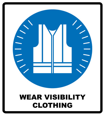 visible: Wear high visibility clothing. Safety visible clothing must be worn, mandatory sign, vector illustration. Reflection vest silhouette. Information mandatory symbol in blue circle isolated on white.