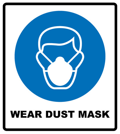 Safety sign, Wear dust mask. Information mandatory symbol in blue circle isolated on white. Vector illustration Illustration