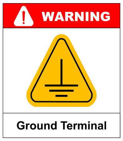 전기 접지 표시. 텍스트, 접지 단자와 화이트 절연 노란색 삼각형에 경고 기호. 벡터 일러스트 레이 션