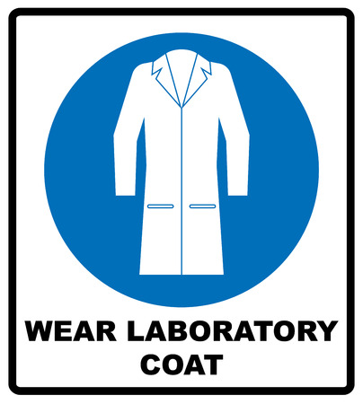 Wear laboratory coat sign. Industry health and safety protection equipment icon. Protective clothing must be worn. Information mandatory symbol in blue circle isolated on white. Vector illustration Stock Illustratie
