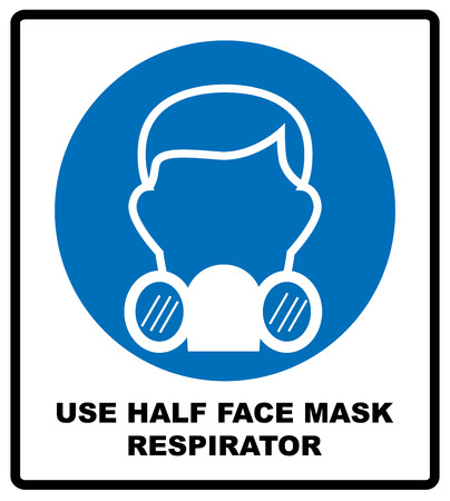 Gas half face mask respirator icon isolated on white background. Protection symbol. Information mandatory symbol in blue circle isolated on white. Vector illustration