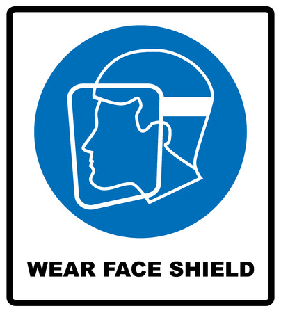 lefthand: Wear a face shield sign. Information mandatory symbol in blue circle isolated on white. Vector illustration Illustration