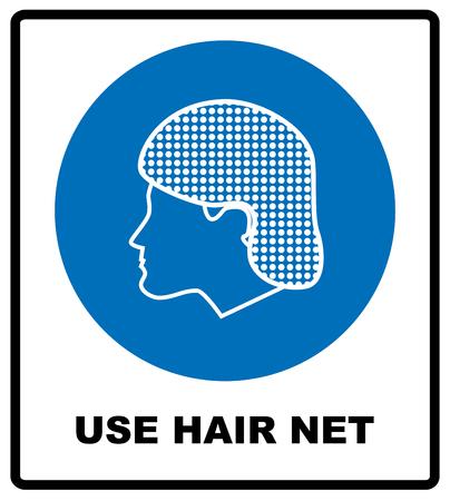 Gebruik haarnetje teken. Veiligheidsinformatie verplicht symbool in blauwe cirkel op wit wordt geïsoleerd. vector illustratie