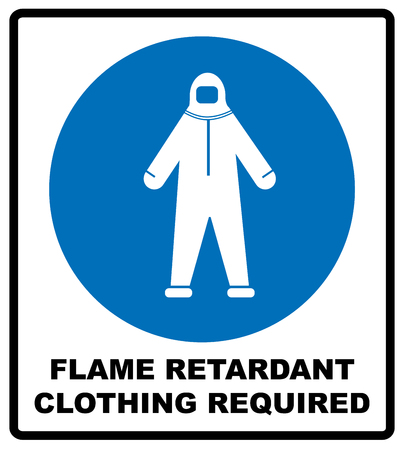 retardant: Flame retardant clothing required sign. Firefighter costume icon, isolated on white background. Clothing symbol. Information mandatory symbol in blue circle isolated on white. Vector illustration