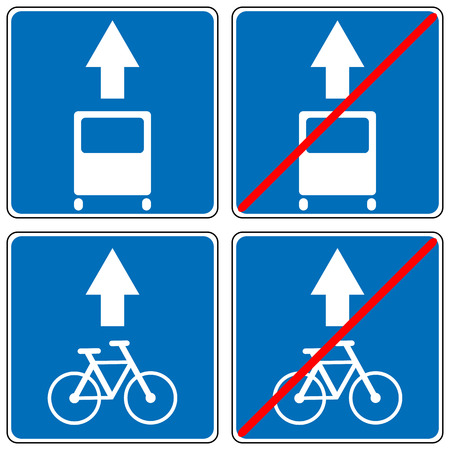 Ahead Only for bus and bycicles, one way traffic sign, Drive Straight Arrow Traffic Vector illustrations. Set of arrow road signs