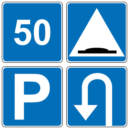 uturn: Set of traffic road sign. Speed limit, road hump, parking, U-turn square symbols. Vector illustration