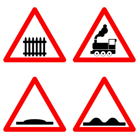 Traffic signs vector set on white background, railway level crossing ahead, speed hump, rough road symbols in red triangle. Vector illustration