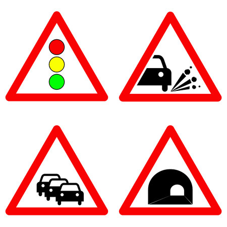 gravel: Set of traffic signs. Traffic lights, gravel road, traffic jam, tunnel symbols. Vector illustration