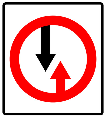 Give way to oncoming traffic sign. Vector road symbol Illustration