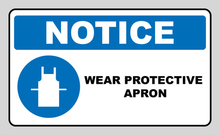 protective: Wear protective gloves, Use protective apron mandatory signs Illustration