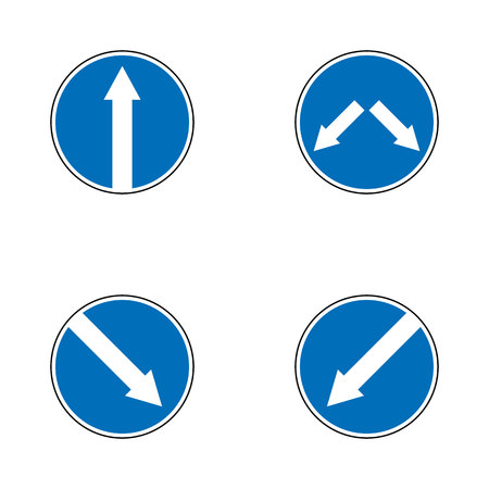 Set of variants arrow road sign isolated on white background. Vector illustration. Illustration