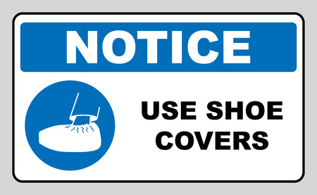 protective: Use shoe covers sign. Protective safety covers must be worn, mandatory sign in blue circle isolated on white, vector illustration. Notice label Illustration