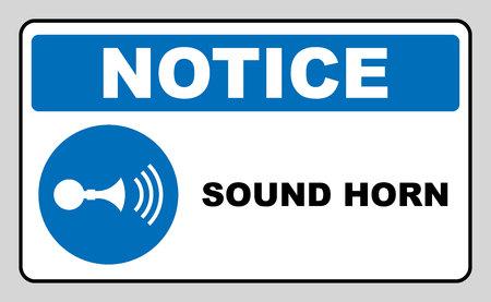 警笛音記号。情報内の青い丸が白で隔離必須記号です。ベクトルの図。注意ラベル