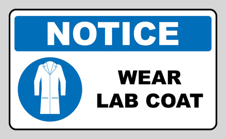 Llevar un letrero de laboratorio. Icono de equipo de protección de salud y seguridad de industria. Ropa protectora debe ser usada. Símbolo de información obligatoria en círculo azul aislado en blanco. Ilustración vectorial