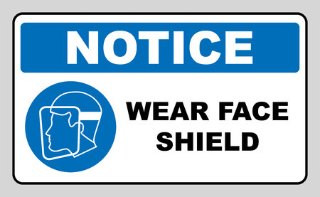 signify: Wear a face shield sign. Information mandatory symbol in blue circle isolated on white. Vector illustration. Notice label Illustration