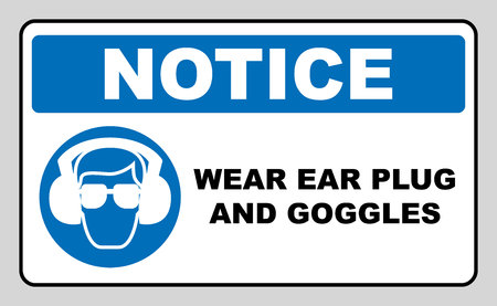 ear muffs: wear earmuffs or ear plugs goggles sign. Information mandatory symbol in blue circle isolated on white. Vector illustration