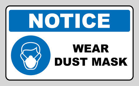 Safety sign, Wear dust mask. Information mandatory symbol in blue circle isolated on white. Vector illustration. Notice label