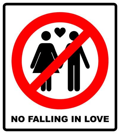 No falling in love label. Vector illustration.