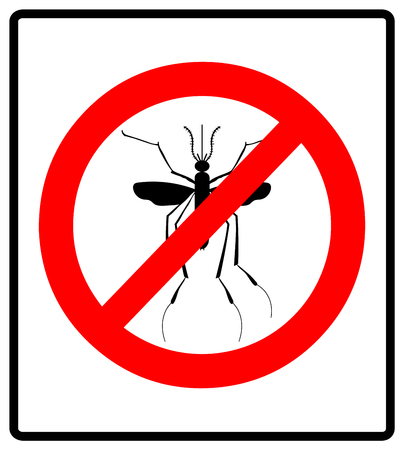 infestation: Warning, Prohibited sign with mosquito with. Stop Zika Virus. Stop Malaria. Stop Dengue. Illustration