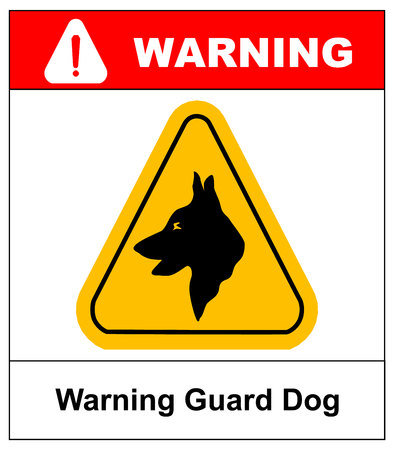 deter: Yellow black triangle Warning Guard Dogs On Duty Text Sign, isolated