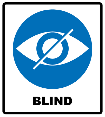 hearing protection: Blind sign in blue circle, notice label. Crossed eye icon. Simple flat logo of strikethrough eye on white background. Vector illustration Illustration