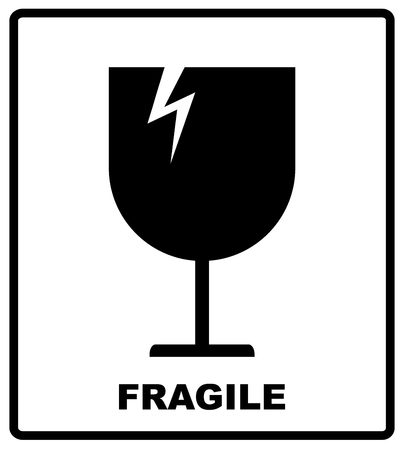 Breakable or fragile material packaging symbol. Vector illustration, black simple flat silhouettes of glass isolated on white.