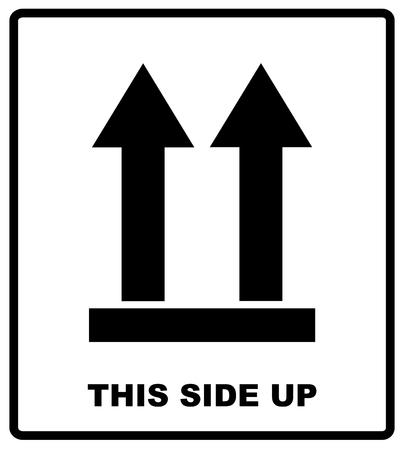 Oberseite, Diese Seite nach oben Symbol. Icon von Side Up Zeichen. Vektor-Illustration. Schwarze Silhouetten von Pfeilen, Verpackung Banner isoliert auf weiß.